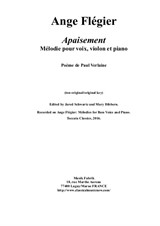 Ange Flégier: Apaisement for medium voice, violin and piano