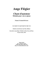 Ange Flégier: Chant d'Automne for high voice and piano